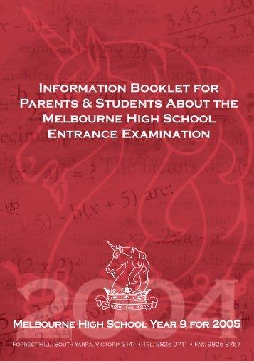 Melbourne High School Information