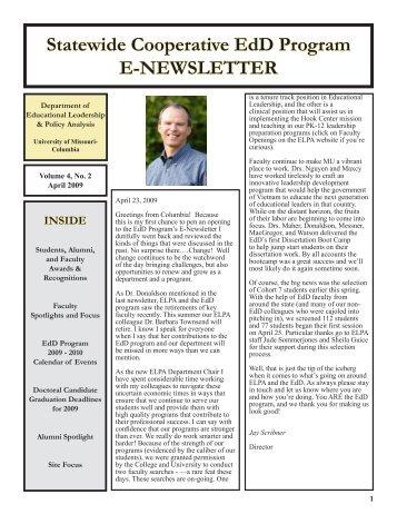 Statewide Cooperative EdD Program E-NEWSLETTER