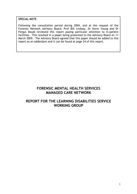 Forensic Mental Health Services Managed Care Network Report