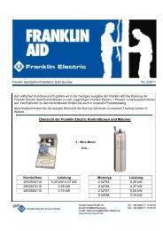 Übersicht der Franklin Electric Kontrollboxen und Motoren ...