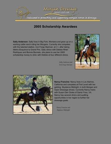 2005 Scholarship Awardees - Morgan Dressage Association