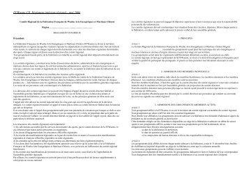 Règlement intérieur - Fédération française de wushu
