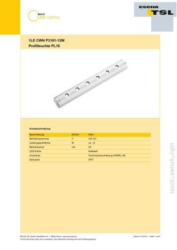 1LE CWN P3101-12W Profilleuchte PL18 - Logo ESCHA TSL GmbH
