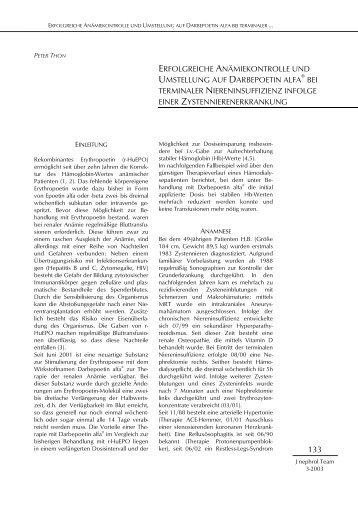 erfolgreiche anämiekontrolle und umstellung auf darbepoetin alfa ...