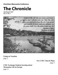 The Chronicle - Chortitzer Mennonite Conference