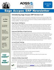 ADSS Global Sage Accpac ERP Newsletter Q1 2010