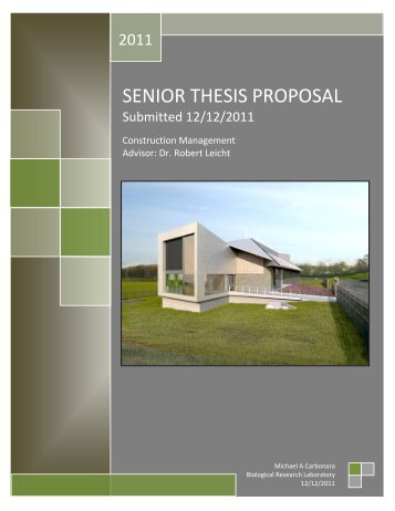 SENIOR THESIS PROPOSAL - Pennsylvania State University