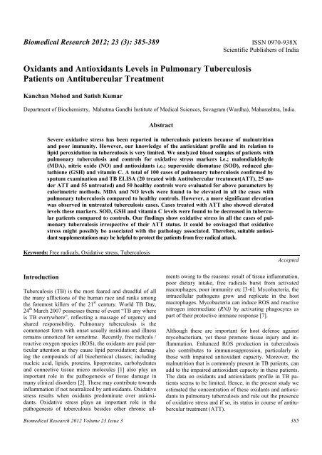 Oxidants and Antioxidants Levels in Pulmonary Tuberculosis ...
