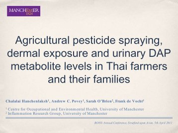 Agricultural pesticide spraying, dermal exposure and urinary ... - BOHS