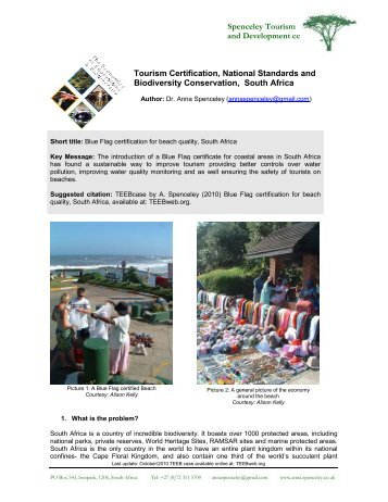 Blue Flag certification for beach quality, South Africa - TEEB