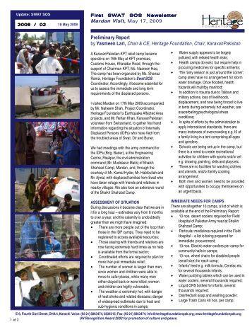 SWAT SOS News Letter 1, 17.5.09 - Swiss Pakistan Society