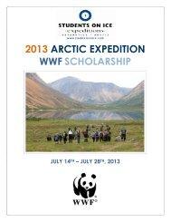 2013 ARCTIC EXPEDITION WWF SCHOLARSHIP
