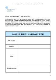Vorschlag für die Bewertung von Klimakisten - NUN