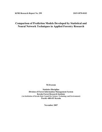 Comparison of Prediction Models Developed by Statistical and ...