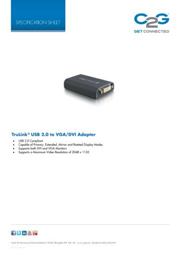 TruLink® USB 2.0 to VGA/DVI Adapter - C2G