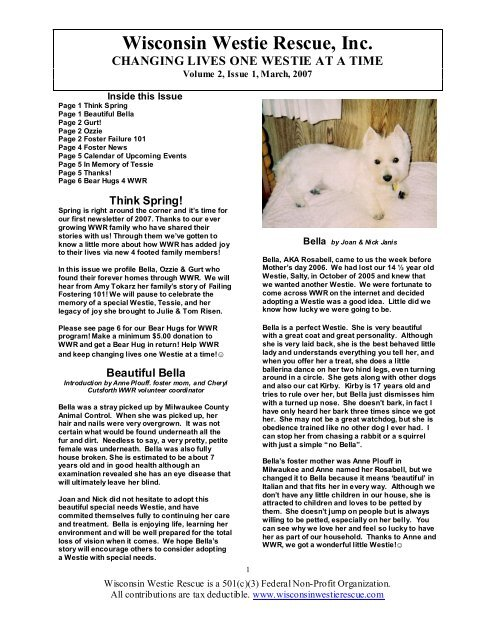 NewsLetter #03 2007 March - Wisconsin Westie Rescue