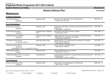 Integrated Works Programme 2011-2012 Cabinet