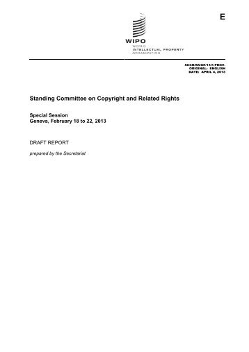 Standing Committee on Copyright and Related Rights - WIPO