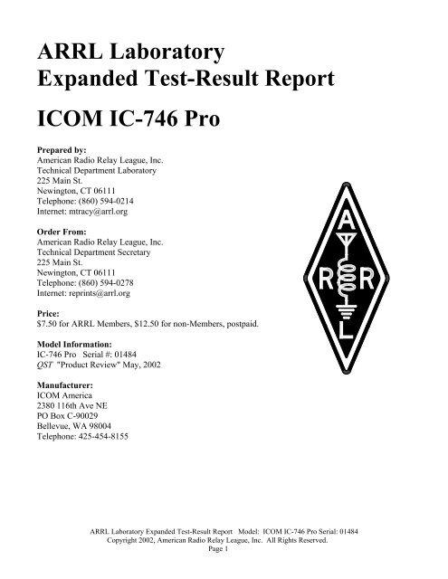 ARRL Laboratory Test Result Report - ICOM IC-746 Pro