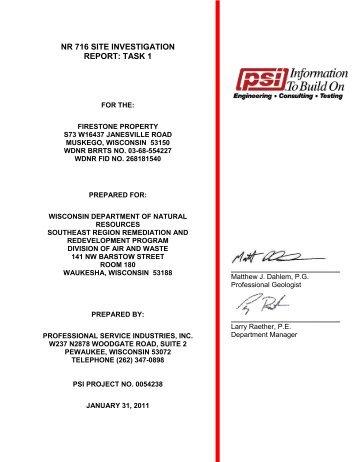 NR 716 SITE INVESTIGATION REPORT: TASK 1 - Waukesha County