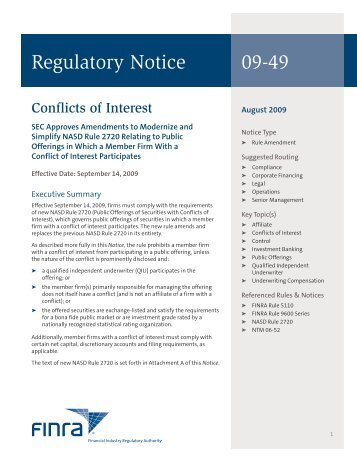 Regulatory Notice 09-49 - finra