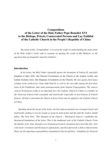 Compendium of the Letter of the Holy Father Pope Benedict ... - usccb