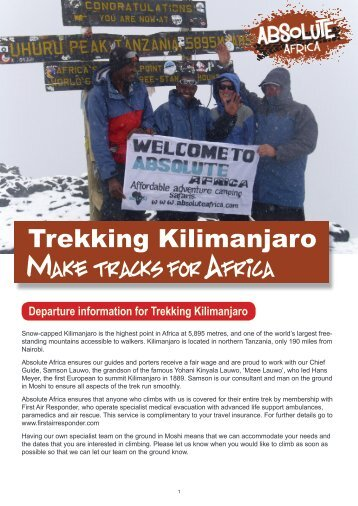 Climb Kilimanjaro (8 day Lemosho Route) - pre ... - Absolute Africa