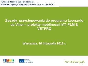 proces selekcji, kryteria oceny wniosków - Leonardo da Vinci