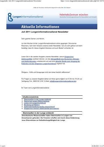 Lungeninfo: Juli 2011 Lungeninformationsdienst Newsletter