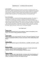 Morfologie – 2001/2002 ZS – program přednášek a ... - Pf UJEP