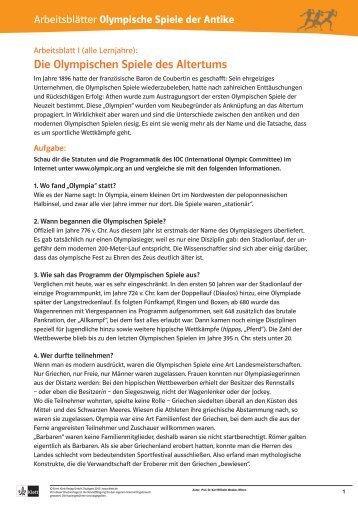 Die Olympischen Spiele des Altertums - Ernst Klett Verlag