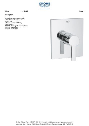 Description Single-lever shower mixer trim set for final ... - GROHE