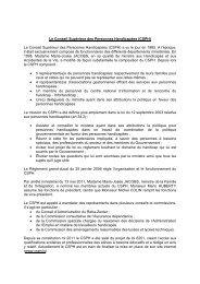 Le Conseil Supérieur des Personnes Handicapées - Gouvernement ...