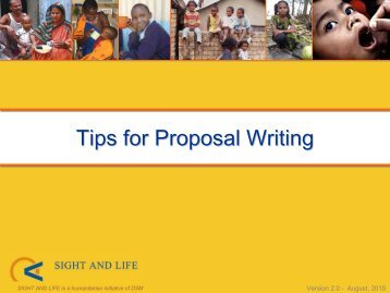 Tips for Proposal Writing - Sight and Life