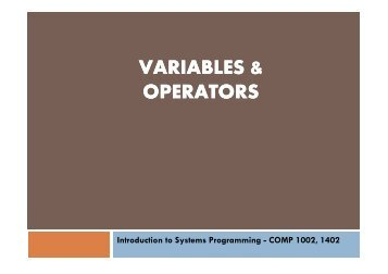 VARIABLES & OPERATORS