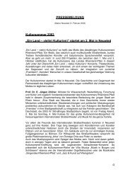 """PRESSEMELDUNG Kultursommer 2003 """"Ein Land – viel(e) Kultur ..."""