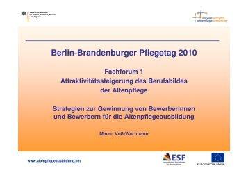 Die Ebene der Einrichtungen - Berlin Brandenburger Pflegetage