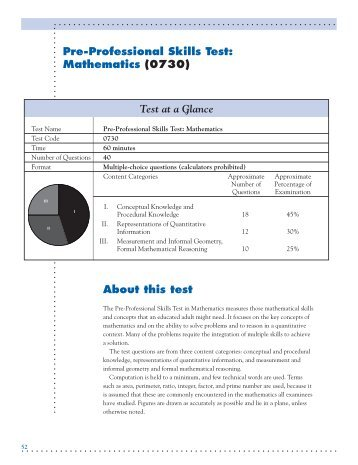About this test Pre-Professional Skills Test: Mathematics (0730) Test ...