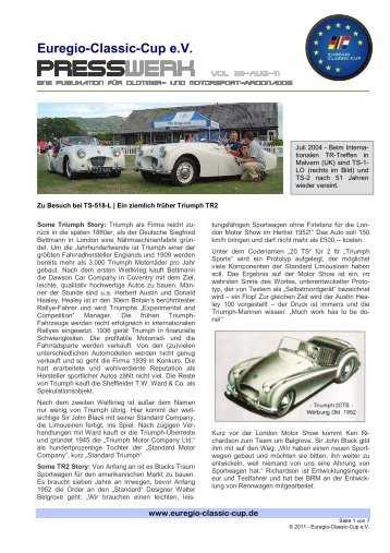 PRESSWERK Vol. 28-AUG-11 - Euregio-Classic-Cup