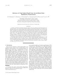 Inference of cloud optical depth from aircraft-based solar radiometric ...