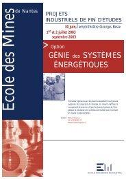 Option génie des systèmes énergétiques - Ecole des mines de Nantes