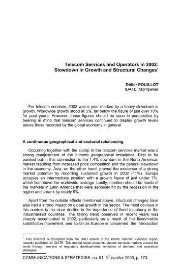 Telecom Services and Operators in 2002: Slowdown in ... - Idate
