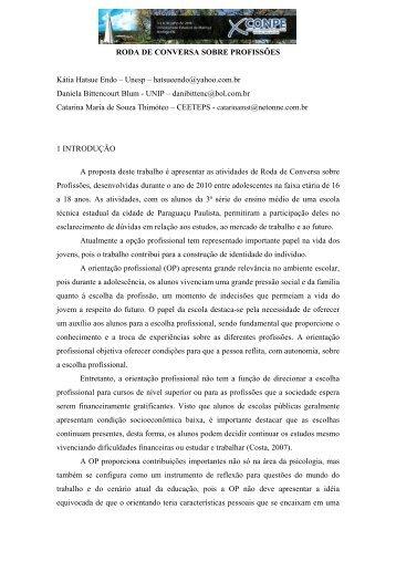 RODA DE CONVERSA SOBRE PROFISSÕES