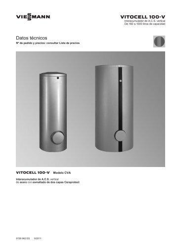 Datos técnicos Vitocell 100-V CVA1.1 MB - Viessmann