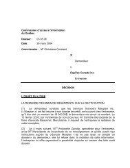 X c. Equifax Canada inc. - Commission d'accès à l'information du ...