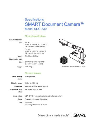 SMART Document Camera 330 specifications