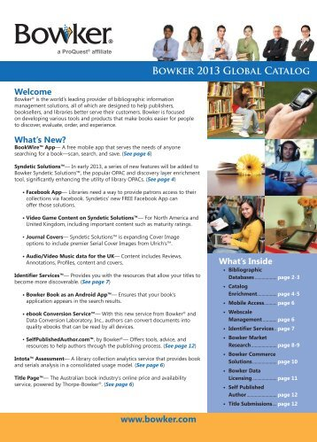 Bowker - What's new 2013 | global catalog (PDF)
