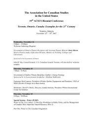 The Association for Canadian Studies in the United States 19th ...
