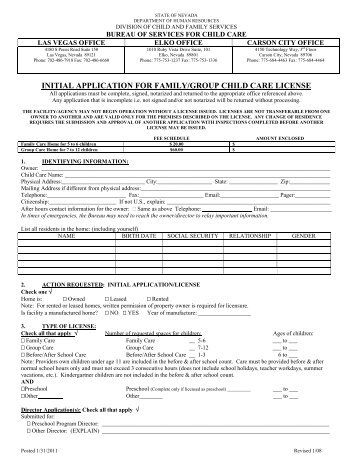 initial application for family/group child care license - Division of ...