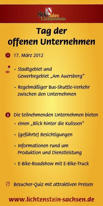 offenen Unternehmen - Stadtverwaltung Lichtenstein